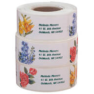 Flower Address Labels - Roll of 200