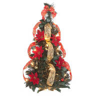 2-Ft. Pull-Up Fully Decorated Pre-Lit Poinsettia Tree by Holiday Peak™