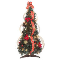 3-Ft. Pull-Up Fully Decorated Pre-Lit Poinsettia Tree by Holiday Peak™