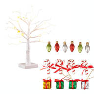 "White Wire 18"" Tree with Classic Christmas Hanging Ornaments"