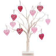 "White Wire 18"" Tree with Valentine's Hanging Ornaments"