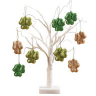 "White Wire 18"" Tree with Shamrock Hanging Ornaments"