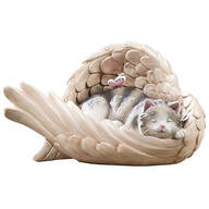 Resin Cat in Angel Wing Statue
