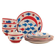 School of Fish 12-pc. Stoneware Dinnerware Set