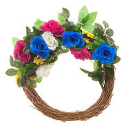 Lighted Jewel Tone Floral Wreath