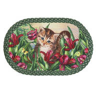 Kitten in Flowers Braided Rug by OakRidge™