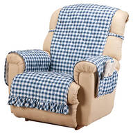 Gingham Recliner Protector with Straps & Pockets