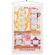 Personalized Teacups on a Shelf Calendar Towel