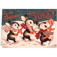 Personalized Jolly Bunny Trio Christmas Cards - Set of 20