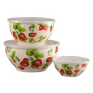 Metal Nested Strawberry Mixing Bowls with Lids, Set of 6