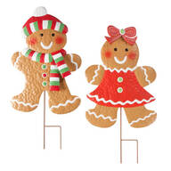 Gingerbread Girl & Boy Stakes by Maple Lane Creations™, Set of 2