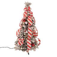 2-Ft. Snow Frosted Candy Cane Pull-Up Tree by Holiday Peak™