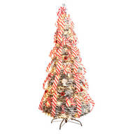 6-Ft. Candy Cane Frosted Pull-Up Tree by Holiday Peak™