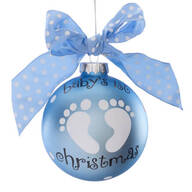 "Personalized ""Baby's 1st Christmas"" Glass Ball Ornament"