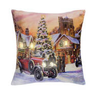 LED Holiday Printed Throw Pillow