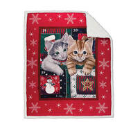 Holiday Micro Plush Throw Blanket with Sherpa Back