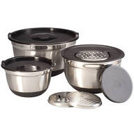 Stainless Steel Bowl, Grater & Lid 9-pc. Prep Set