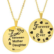 Children's Double Sided Stainless Steel Mother Daughter Pendant