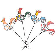 Metal Rooster Garden Stakes, Set of 4 by Maple Lane Creations™