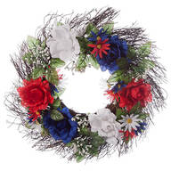 "18"" Patriotic Rose Wreath by Oakridge Outdoor™"