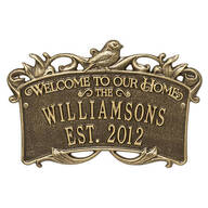 Personalized Songbirds Anniversary Welcome Plaque