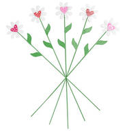 Metal Daisy Heart Stakes, Set of 5 by Maple Lane Creations™