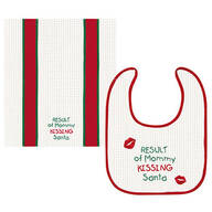 Mommy Kissing Santa Bib & Burp Cloth Set