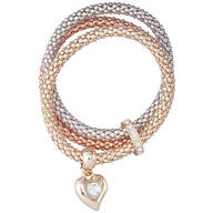 Crystal Heart & Tri-Tone Chain Stretch Bracelet