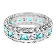 Birthstone and CZ Sterling Silver Ring
