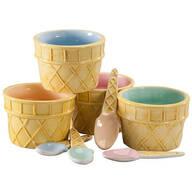 Ceramic Ice Cream Bowl with Spoon Set of 8