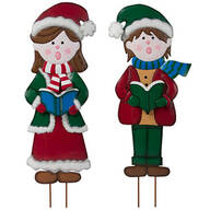 Metal Garden Girl and Boy Carolers by Maple Lane Creations™