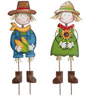 Metal Scarecrow Boy and Girl Stakes by Maple Lane Creations™