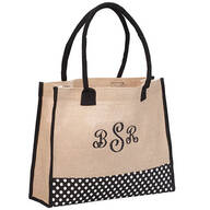 PZ Burlap and Polka Dot Bottom Tote