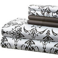 Hotel 5th Ave. 90GSM 6pc Microfiber Sheets, Black/White Scroll
