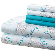 Hotel 5th Ave. 90GSM 6pc Microfiber Sheets, Turquoise Medallion