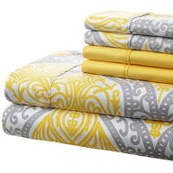 Hotel 5th Ave. 90GSM 4pc Microfiber Sheets, Gray/Yellow Medallion