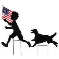 Patriotic Boy and Dog Lawn Stake Set by Maple Lane Creations™