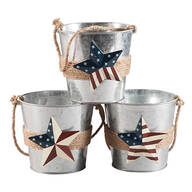 Metal Barn Star Buckets by Maple Lane Creations™, Set of 3