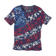 Red, White & Blue Floral T Shirt