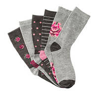 Floral Trouser Socks, set of 6 Pair