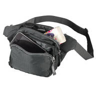 RFID Blocking 3-Pocket Gray Waist Pack