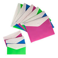 Set of 9 Colored Poly Envelopes with Snap Closure