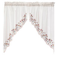Floral Embroidered Swag Pair