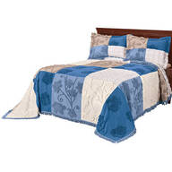 Patchwork Bedspread/Sham King Blue by OakRidge™