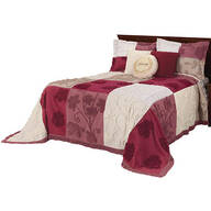 Patchwork Bedspread/Sham Full Burgundy by OakRidge™