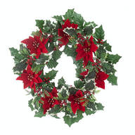 "14"" Poinsettia and Holly Berry Wreath by Oakridge Outdoor™"