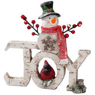 Resin Snowman JOY Sign