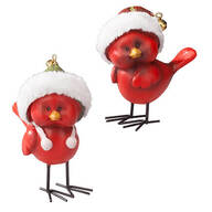 Resin Jingle Bell Cardinals, Set of 2