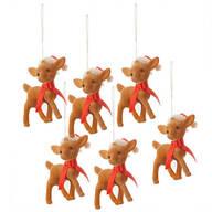 Retro Reindeer Ornaments, Set of 6