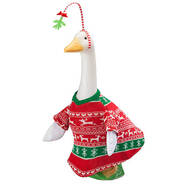 Red and Green Sweater Goose Outfit with Mistletoe